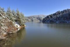 Scena piacevole del lago di inverno con la foresta Immagini Stock Libere da Diritti