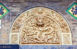Scena-pietra di Wutaishan (supporto Wutai) che scolpisce drago. Immagine Stock