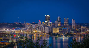 Scena Pittsburgh di notte Immagine Stock