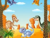 Scena preistorica con l'insieme della raccolta del dinosauro Immagine Stock