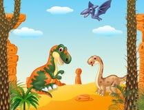 Scena preistorica con l'insieme della raccolta del dinosauro Immagini Stock