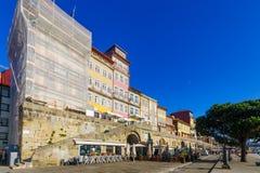 Scena Ribeira brzeg rzeki w Porto, Obraz Stock