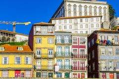 Scena Ribeira brzeg rzeki w Porto, Fotografia Royalty Free
