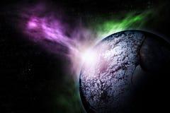 Scena romanzata di distruzione del pianeta distante illustrazione vettoriale