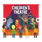 Scena rossa di manifestazione di fiaba del cappuccio con i bambini di Wolf And Hunter Performed By nel teatro dilettante con l'al illustrazione vettoriale