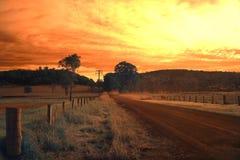 Scena rurale australiana, vicolo del paese Fotografia Stock