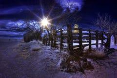 Scena rurale di tramonto falso infrarosso di colore Fotografia Stock