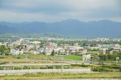 Scena rurale intorno alla stazione ferroviaria ad alta velocità di Miaoli Fotografia Stock
