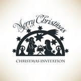 Scena semplice di natività Invito di Natale Immagine Stock