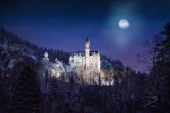 Scena splendida di notte del castello reale il Neuschwanstein e della zona circostante in Baviera, Germania Deutschland Fotografie Stock
