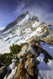 Scena stupefacente della montagna di Alpspitze Picco bavarese vicino a Garmisch Partenkirchen, Baviera, Germania Fotografie Stock