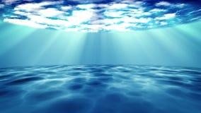Scena subacquea su un fondo blu scuro Fotografia Stock