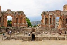 Scena Teatro Greco, Taormina - Zdjęcie Royalty Free