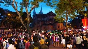 Scena urbana ammucchiata, festa del Vietnam Fotografia Stock Libera da Diritti