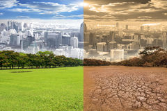Scena urbana che mostra l'effetto del mutamento climatico dell'ambiente Fotografia Stock Libera da Diritti