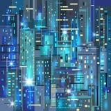 Scena urbana Città alla notte Fotografia Stock