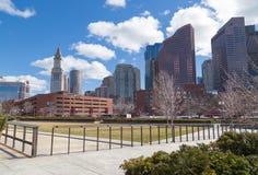 Scena urbana dell'orizzonte di Boston Masachusetts Fotografie Stock
