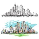 Scena urbana disegnata a mano cityscape Immagine Stock