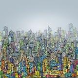 Scena urbana disegnata a mano cityscape Fotografia Stock Libera da Diritti