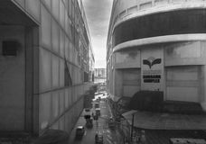 Scena urbana a Manila, Filippine Bus, costruzioni, strada, la gente, vie, scena urbana Immagine Stock
