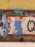 Scena urbana prospera di arte della via e dei graffiti a Setubal, vicino a Lisbona, il Portogallo, 2014 Fotografie Stock Libere da Diritti