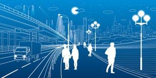 Scena urbana Scambio dell'automobile Passeggiata della gente lungo il marciapiede Città moderna di notte su fondo Arte di progett illustrazione vettoriale