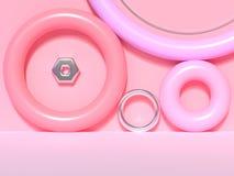 scena variopinta 3d di forma di rosa dell'estratto della parete del pavimento geometrico dello spazio in bianco rendere royalty illustrazione gratis
