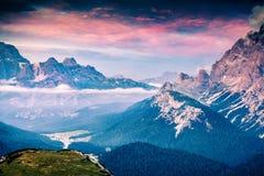 Scena variopinta di estate nel parco nazionale Tre Cime De Lavaredo Fotografia Stock Libera da Diritti