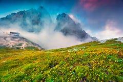 Scena variopinta di estate nel parco nazionale Tre Cime di Lavaredo Immagine Stock
