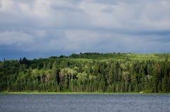 Scena ventosa del lago in Manitoba fotografia stock