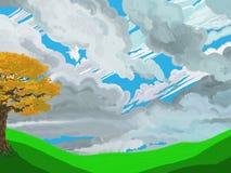 Scena verniciata di autunno di stile Immagini Stock