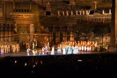 Scena z Aida scenerią w aren di Verona, Włochy Zdjęcia Royalty Free