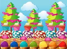 Scena z babeczkami i lody w polu ilustracji