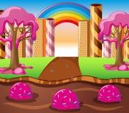 Scena z czekoladowym rzeki i truskawki śmietanki drzewem ilustracji
