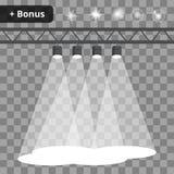 Scena z cztery projektorami, światła reflektorów na przejrzystym tle premia ilustracja wektor