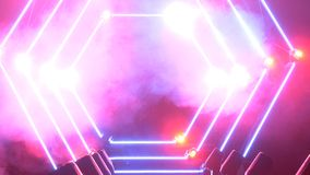 Scena z dymu i punktu światłami 3d tła pojęcia ilustracja odizolowywał prezentacja odpłacającego się biel Nowożytny podium lub sc zdjęcia royalty free