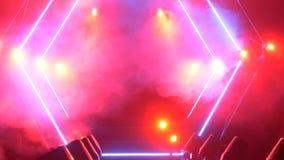 Scena z dymu i punktu światłami 3d tła pojęcia ilustracja odizolowywał prezentacja odpłacającego się biel Nowożytny podium lub sc Fotografia Royalty Free