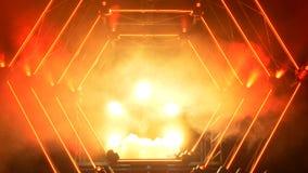 Scena z dymu i punktu światłami 3d tła pojęcia ilustracja odizolowywał prezentacja odpłacającego się biel Nowożytny podium lub sc Fotografia Stock