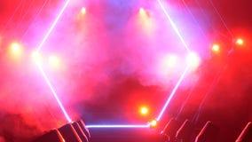 Scena z dymu i punktu światłami 3d tła pojęcia ilustracja odizolowywał prezentacja odpłacającego się biel Nowożytny podium lub sc Zdjęcia Stock