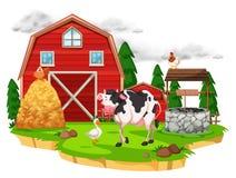 Scena z zwierzętami gospodarskimi na gospodarstwie rolnym ilustracja wektor