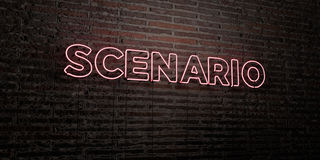 SCENARIO -Realistic Neon Sign on Brick Wall background - 3D rendered royalty free stock image. Can be used for online banner ads and direct mailers Stock Photos