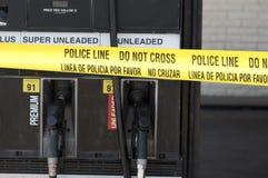 Scence de crime à la station service Photographie stock libre de droits