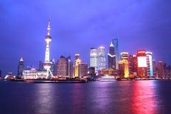 scence de nuit de Changhaï Photographie stock