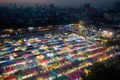 Scence di notte della vista aerea di panorama di Bangkok della notte mA di Bangkok Fotografie Stock