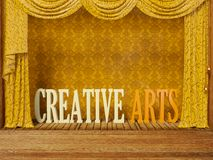 Scene. Classic theatre scene with yellow curtain Royalty Free Stock Photography