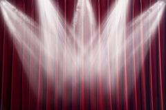 Scene. The scene shined with projectors, before curtain opening Stock Photography