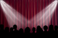 Scene. The scene shined with projectors, before curtain opening Royalty Free Stock Photos