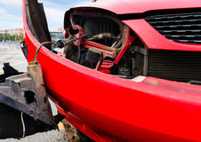 The scene of the accident on the road. On the roadside a red car hit Royalty Free Stock Image