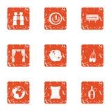 Scene of action icons set, grunge style. Scene of action icons set. Grunge set of 9 scene of action vector icons for web isolated on white background Stock Photos