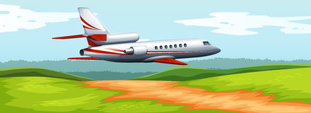 Scene with airplane flying over the field. Illustration Royalty Free Stock Image